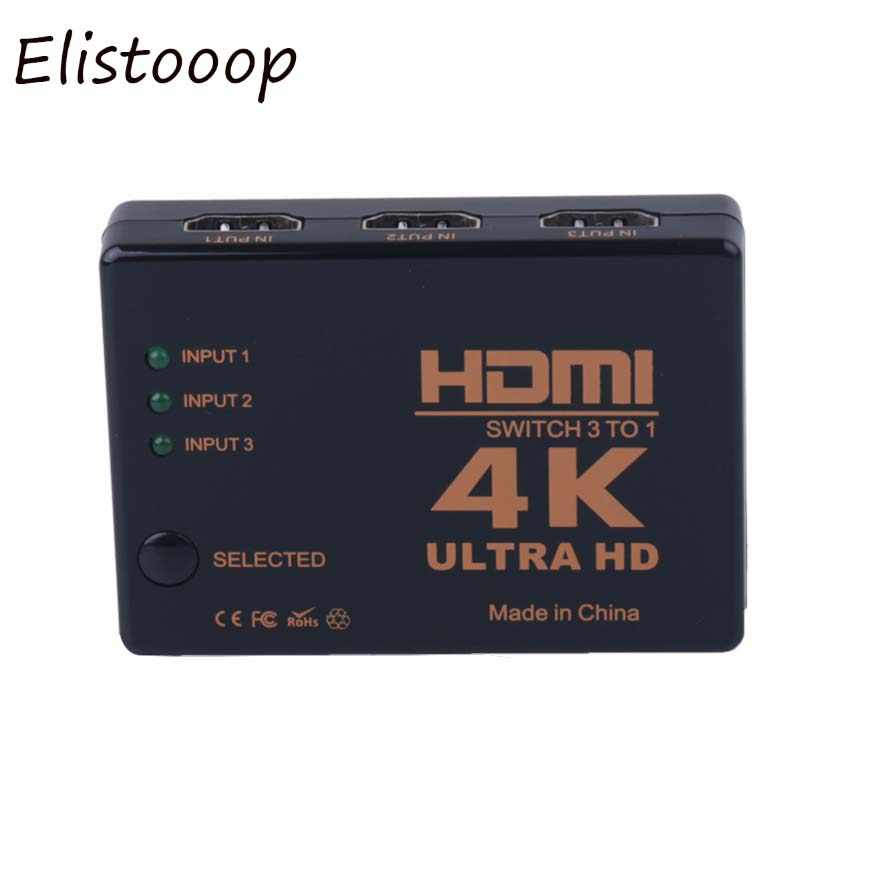Elistooop 1.4 4K Mini 3 Port HDMI Switcher HDMI Splitter 4K * 2K 3D Switch 3 Di 1 Port Hub untuk DVD HDTV Xbox PS3 PS4 1080P