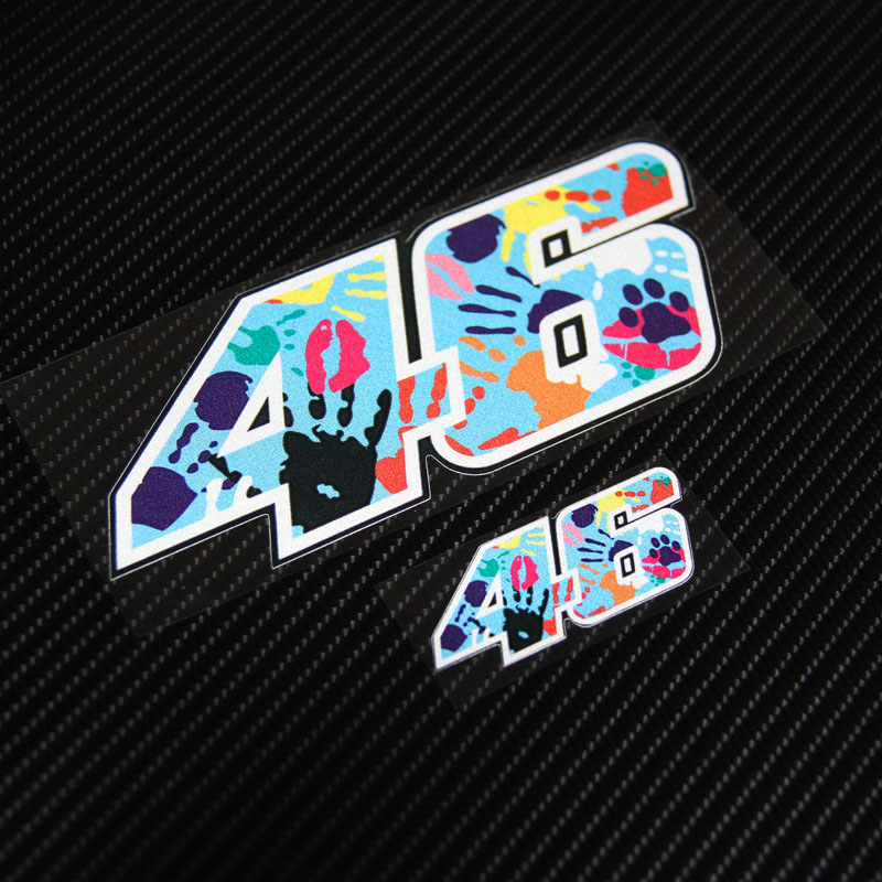 High quality Handprint 46 Reflective waterproof Stickers Motorcycle Helmet Car Sticker Decals Vinyl for Rossi