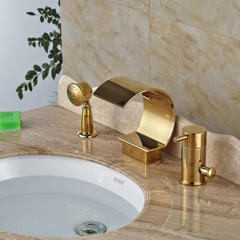 Brass Golden Deck Mount Bathtub Faucet Side Install Tub Filler