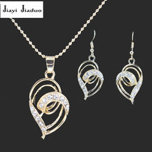 jiayijiaduo Heart Jewelry Set for Women's Clothing Accessories Pendant earrings set Gold color Parure bijoux femme Jewelery set(China)
