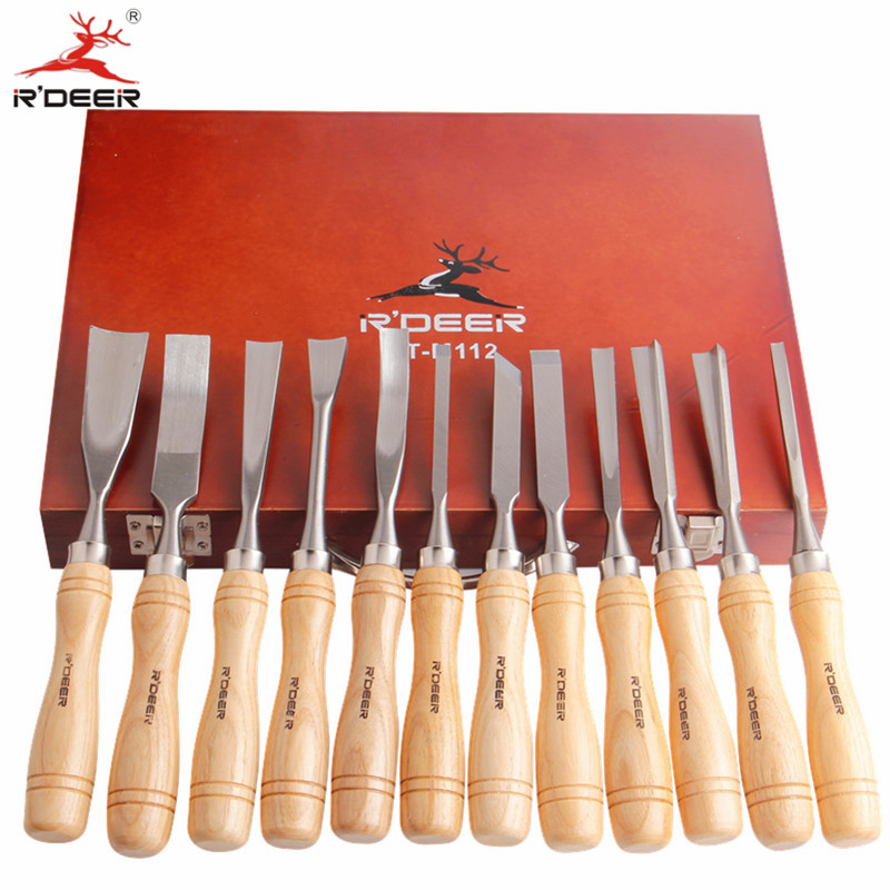RDEER Wood Carving Knife Chisel kit Hand Tools For Carving Wood Gouge Chisel 12 Pcs