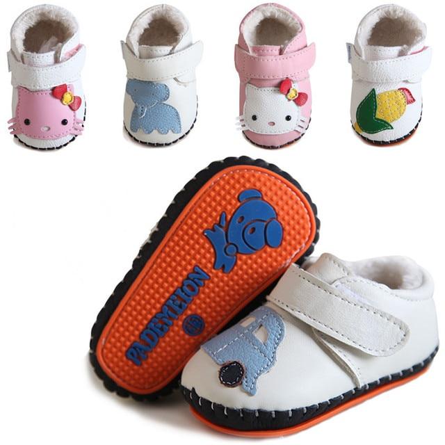 Classical Baby Дети Обувь для Новорожденных Малышей Кожаные Ботинки Коровьей Шерсти Prewalker Нескользящей Первые Ходоки Младенца Хлопка-проложенный обувь