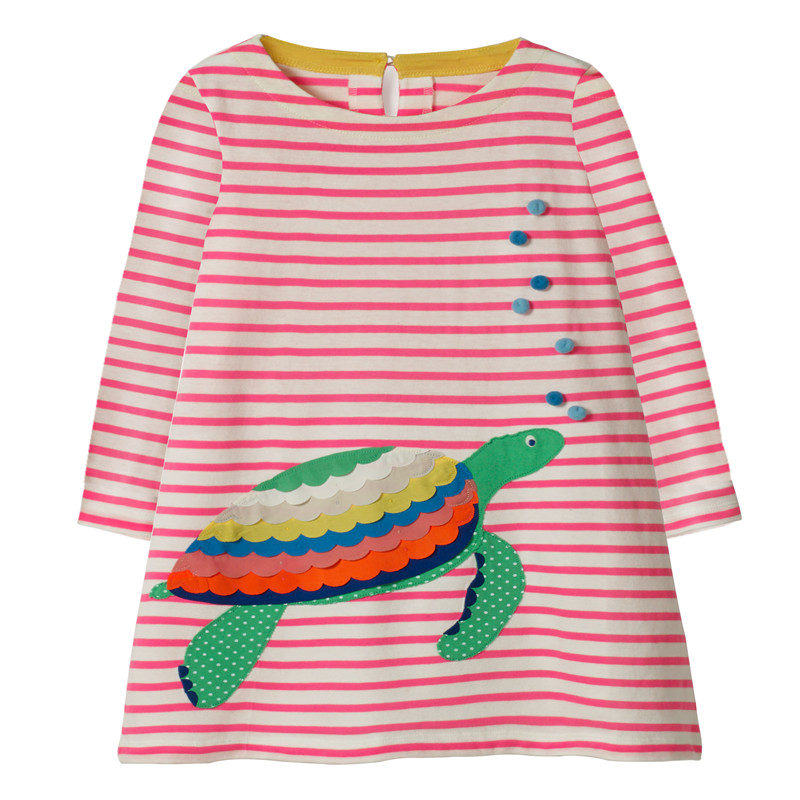 Jumping meters New 2018 Applique Dresses girls clothing long sleeve tortoise animals striped autumn winter frocks kids dresses jumping meters top brand dresses girls baby new clothing cotton striped applique animals princess autumn spring kids dress girl