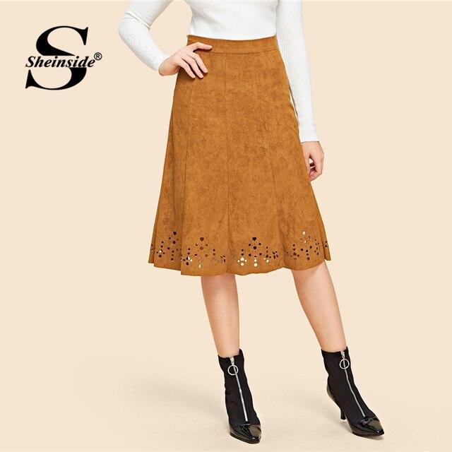 a8433a12013 Sheinside marrón corte láser dobladillo gamuza Falda Mujer una línea hasta  la rodilla faldas Vintage 2018