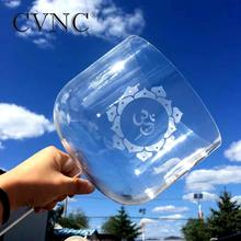 CVNC New  Sunflower and OM design Hollow Handle 7 Note C /D/E/F/G/A/B tuned Clear Crystal Singing Bowl