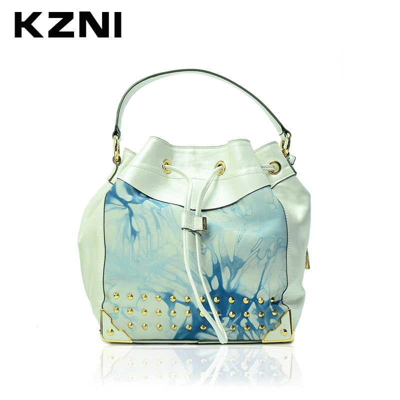 KZNI Genuine Leather Purses and Handbags Crossbody Shoulder Clutch Bags for Girls Top-handle Bags 1270-A kzni genuine leather shoulder bags female purses and handbags fashion handbags 2017 crossbody bags for women sac a main 9008