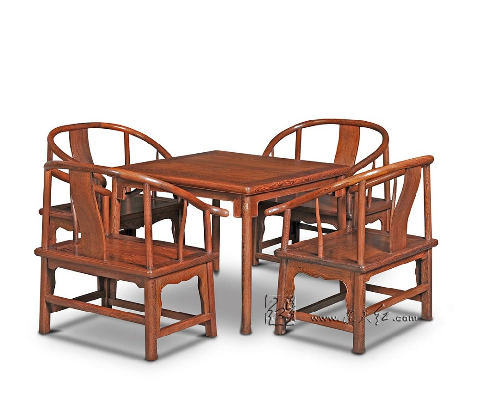 Classical Dining Room Furniture Set 4 Low Armchair and 1 Square Table 5-pieces sets Home Garden Coffee desk Chair Rose Red Wood classical rosewood armchair backed china retro antique chair with handrails solid wood living dining room furniture factory set