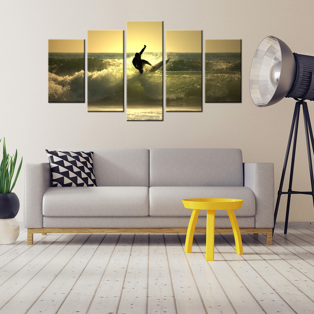 5 panel modern painting hd picture sea surf prints on canvas 5 panel modern painting hd picture sea surf prints on canvas contemporary seascape mural wall art decorations for living room in painting calligraphy from amipublicfo Choice Image