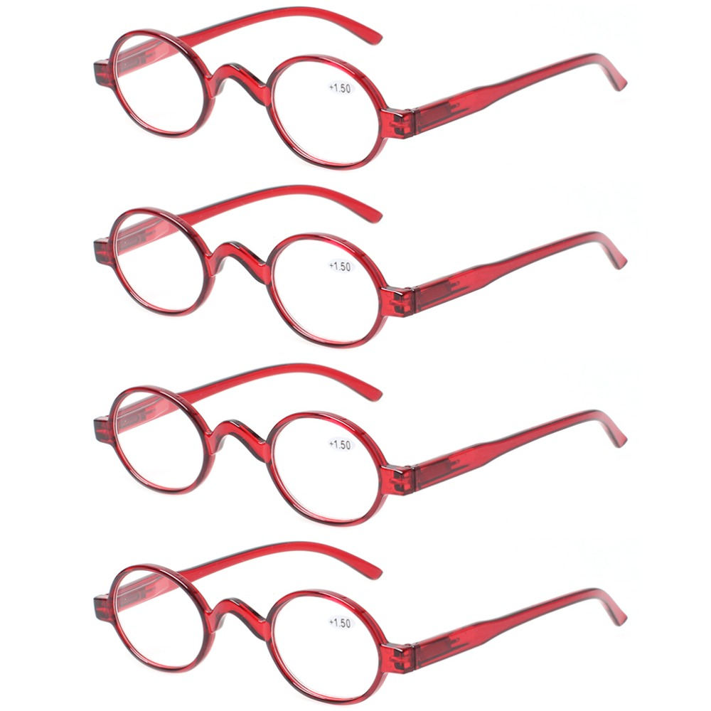 8469ab3372a0 4 pack fashion mini reading glasses women and men spring hinges round  eyeglasses frames readers
