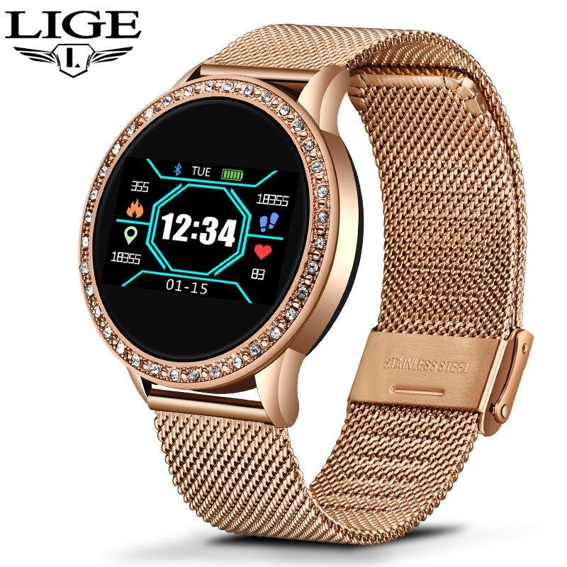 LIGE Relógio Inteligente Tela Colorida OLED Monitor de Freqüência Cardíaca relógio de Senhoras Da Moda Das Mulheres de Fitness Esporte Rastreador Smartwatch Inteligente pulseira