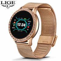 LIGE montre intelligente femmes OLED couleur écran moniteur de fréquence cardiaque dames montre mode Fitness Tracker Sport Smartwatch bracelet intelligent