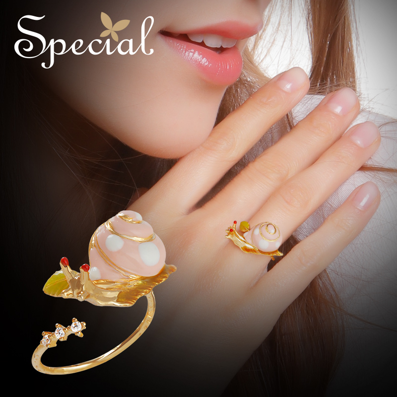 Special Fashion Enamel Snail Rings Adjustable Flower Party Ring End-open Animal Ring Romantic Jewelry Gifts for Women S1715R