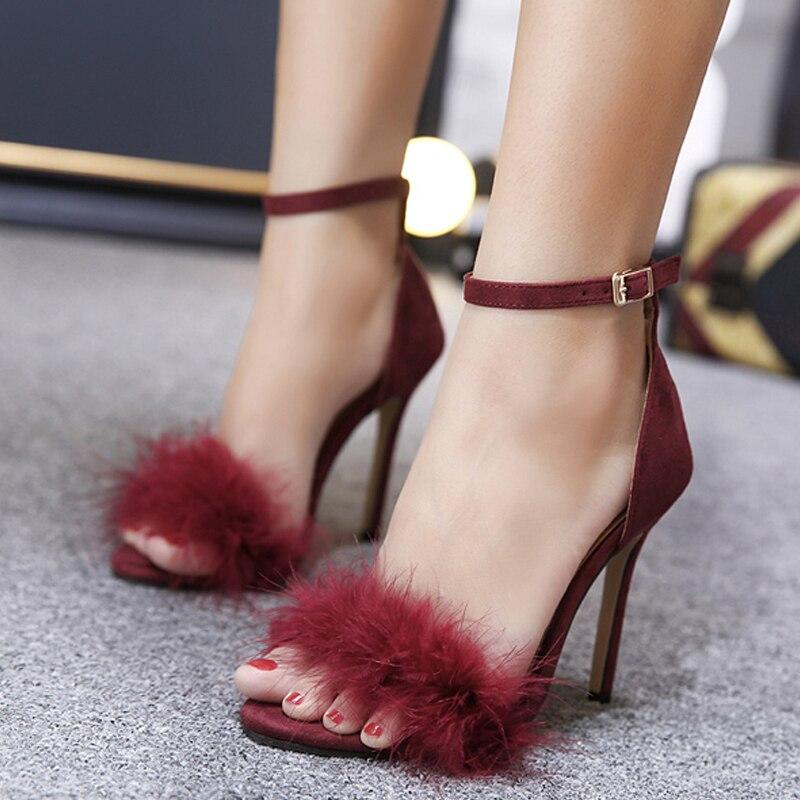 Bt749 Femmes Mode pink Talons Mariage apricot Hauts Black Des wine Fourrure Chaussures Pompes Printemps 2018 Sexy De automne Dames Red Faux À aAHpddq