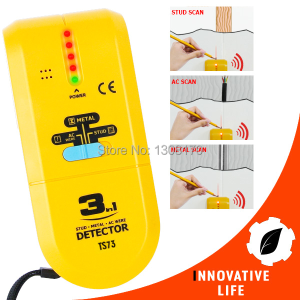 3-in-1 Detector Find Metal Wood Studs AC Voltage Live Wire Wall Scanner Electric Box Finder with Groove + Buzzer Handheld Tester