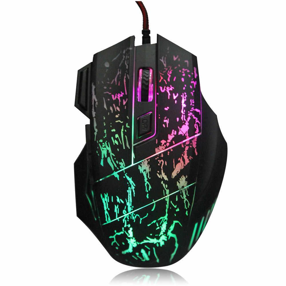 5500DPI 7 Nút 7 Màu ĐÈN Nền LED Quang USB Có Dây Game Thủ Chuột Laptop Máy Tính Mause Chuột Chơi Game cho Trò Chơi 520 &