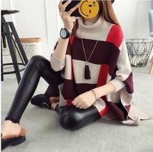 2018  womens sweater set spell color long cloak bat sleeve autumn knitted shawl batwing coat jacket coat