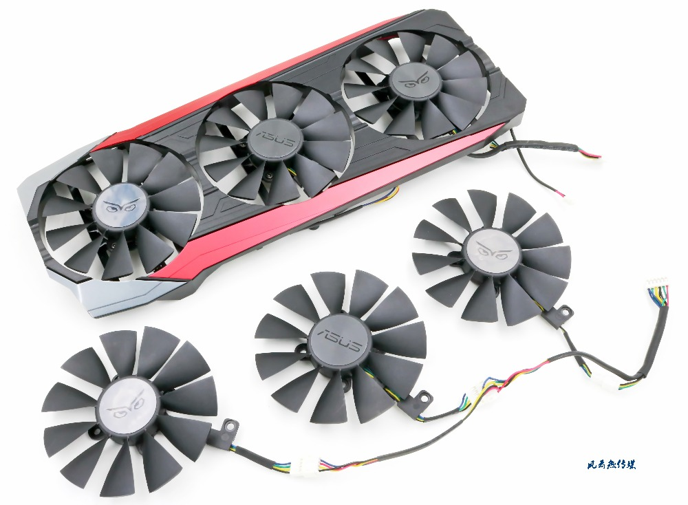 все цены на  New Cooling Fan For ASUS STRIX Raptor R9 390/390X card cooler fan with shell  онлайн