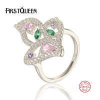 FirstQueen 925 Sterling Silver Flowers Finger Rings With Nature Stone Meadow Stackable Ring, Clear CZ For Women Wedding Jewelry