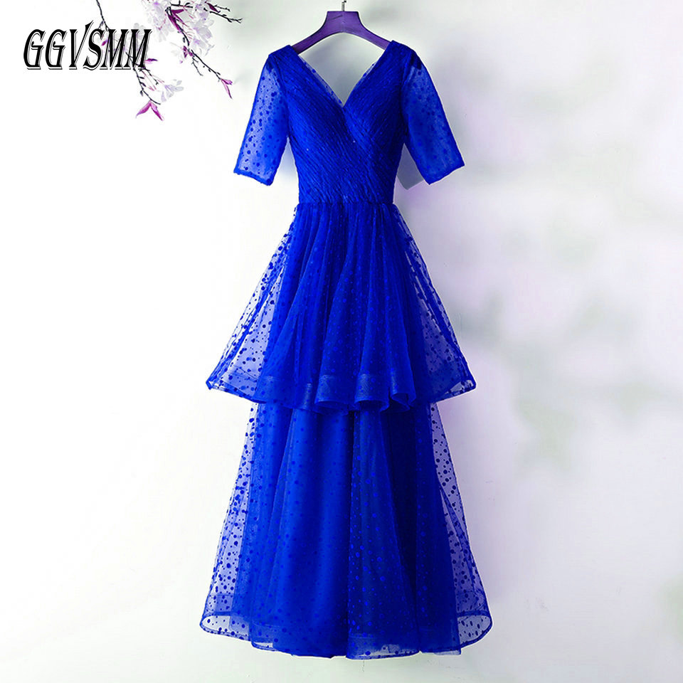 Elegant Royal Blue Long Evening Dresses 2019 Formal Evening Gown V Neck Tulle Half Sleeve Lace Up A-Line Women Party Dress Prom