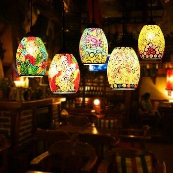 Camera Da Letto In Oro Bianco Nero | Marocchino Hang Lampada Bar Ristorante Cucina Sala Da Pranzo Turco Mosaico Lampade Vintage Loft Decor Decor Paralume In Vetro Lampada A Sospensione