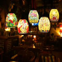 Moroccan hang lamp Bar Restaurant Kitchen Dining room turkish mosaic lamps Vintage Loft Decor Decor Glass Lampshade pendant lamp
