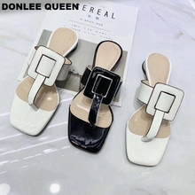 DONLEE QUEEN New Summer Slippers Square Toe PU Buckle Flip Flops Low Heel Slides Brand Sandals Fashion Casual Shoe zapatos mujer
