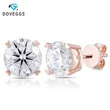 DovEggs 14K Rose Gold 2CTW 6.5MM FGH Color 1ct Each Moissanite Stud Earrings for Women Push Back