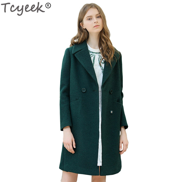 Tcyeek New Dark Green Wool Coat Jackets Women Slim Suit Collar ...