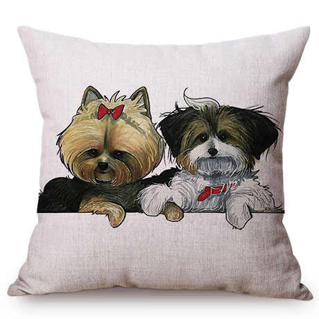 Pet Dog Animals Funny Style Cushion Cover Dachshund Schnauzer Dog Children Like Cotton Linen Sofa Decorative Throw Pillow Case M110-7