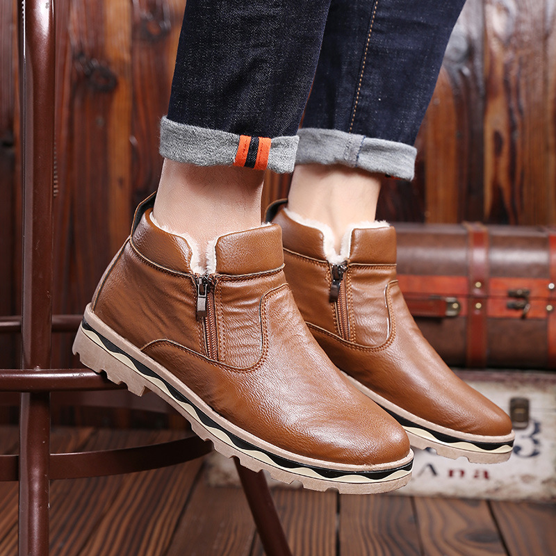 Fashion Men Snow Boots Leather Mens Outdoor Hiking Boot Winter Boot Casual Shoes Sneakers Mans Work Safety Comfortable Ankle