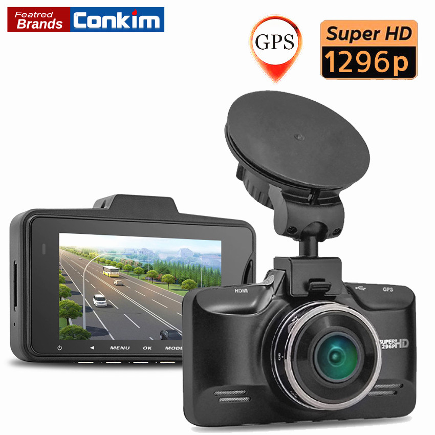 Conkim Car DVR camera Ambarella A7LA70 Video Recorder 1296P 30FPS 2.7 Inch G-Sensor HDR Dash Cam Registrator Optional GPS DVRs conkim mini car suction cup holder for car cam dvr windshield stents car gps navigation accessories