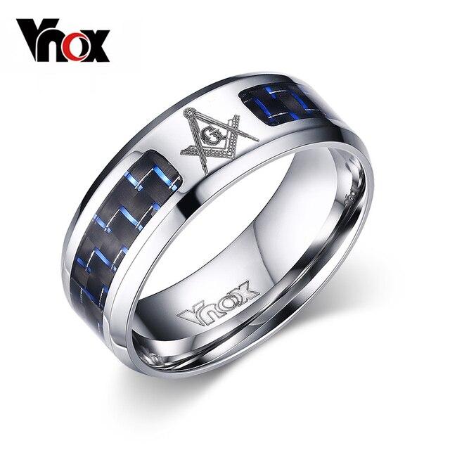 Vnox Mens Masonic Rings Stainless Steel Wedding Rings For Men