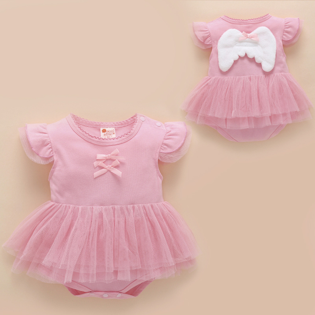0f06cbc6036 baby girl clothes summer newborn angel wings baby rompers short sleeve tutu  romper dress infant girl