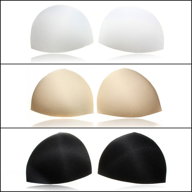 1 Pair Womens Sponge Gel Bra Inserts Pads Breast Enhancer Intimates Padded Bras Underwear White Black Nude Color 5