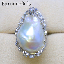BaroqueOnly 2018 Stunning Big 20 27mm White Baroque Freshwater Cultured Pearl Ring Free shipping Fashion Woman Jewelry RH