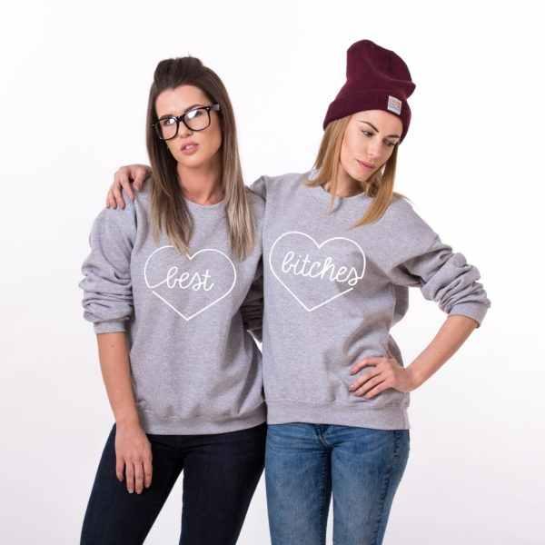 c1cf35954 ... Best Bitches Heart Matching Best Friends Sweatshirts Women Crewneck  Sweats Long Sleeve Tops Female Jumper Outfits ...