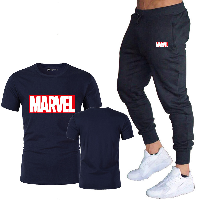 HTB19jcVJ5LaK1RjSZFxq6ymPFXa9 New summer hot brand sale men's MARVEL suit T shirt + pants two piece casual sportswear printing shirts gym fitness pants 2019