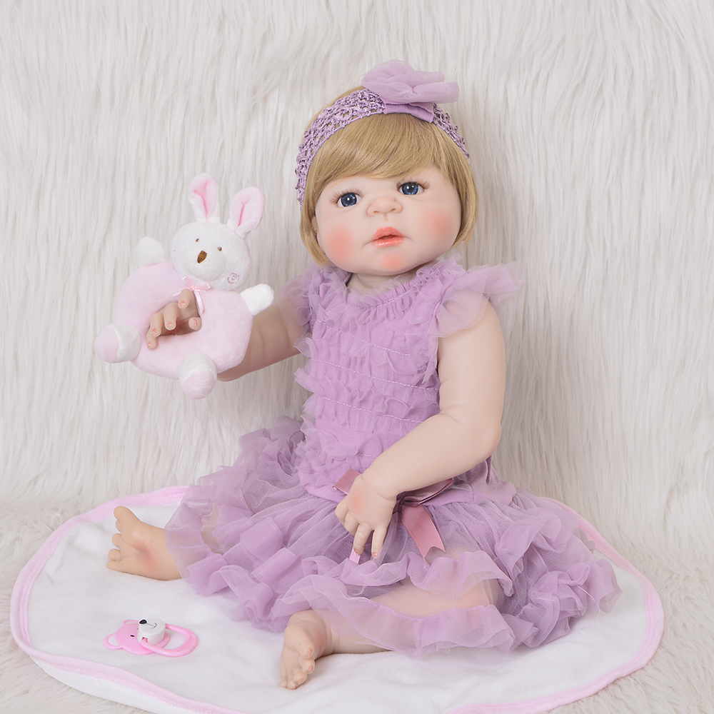Lifesize 23 57 cm Baby Reborn Girl Full Silicone Body Reborn Dolls Lovely Kids Playmates Baby