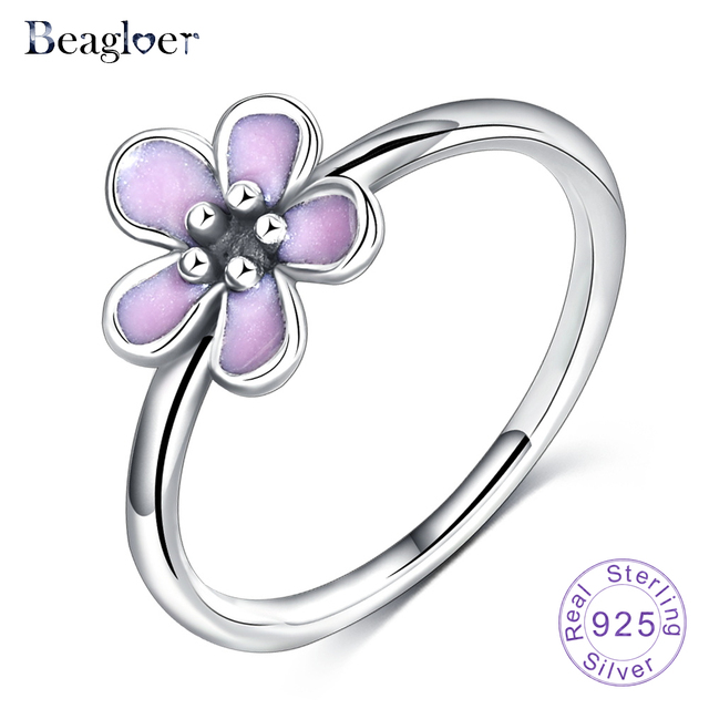 0e65b5d4a Beagloer Hot Sale 100% 925 Sterling Silver Cherry Blossom Stackable Rings  with Pink Enamel Ring S925 Jewelry PSRI0074-B