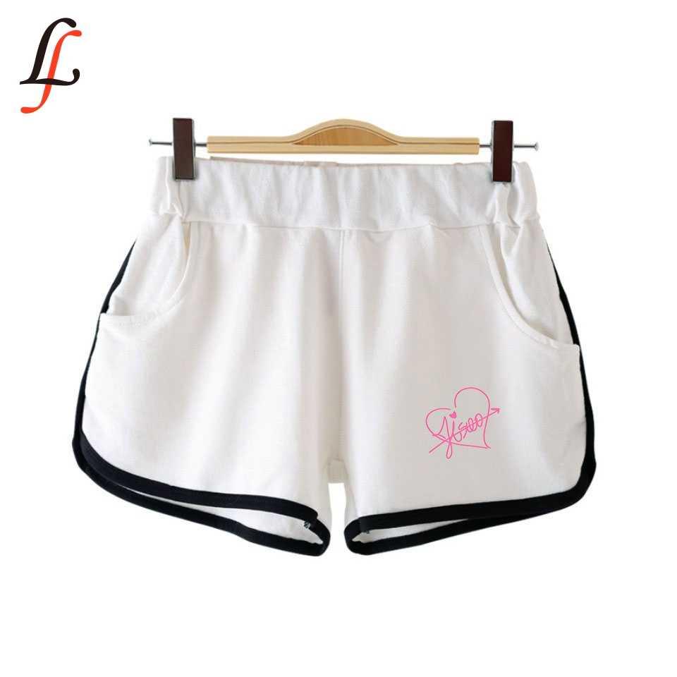 Blackpink 夏の女性のショートパンツ k ポップカジュアル弾性ウエストフィットネスファッションショートポケット原宿すべてマッチ固体ソフトショート