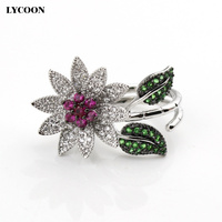 Fashion Woman Azorite Jewelry Ring Hight Quality AAA Australia Zircon With Flowers Design For Woman S