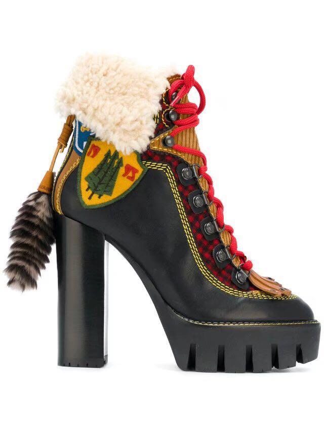 Corto Mujeres Grueso Tobillo Botas Chicas Zapatos Mujer Encaje De Plataforma Cuadrado Tacón Del Abesire Las Oveja Caliente Alta Piel As La Pictures Punta Redonda YXqRxZ8