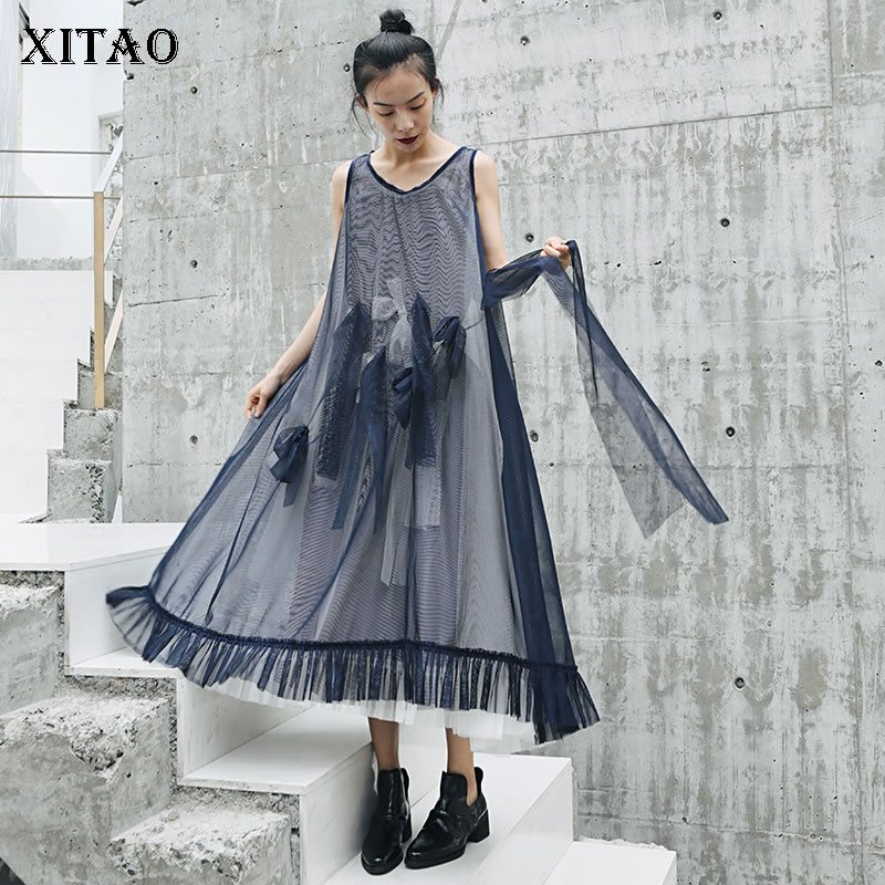 XITAO Summer 2019 Women New Casual Fashion Solid Color Dress Patchwork Bow bandage Brief Loose