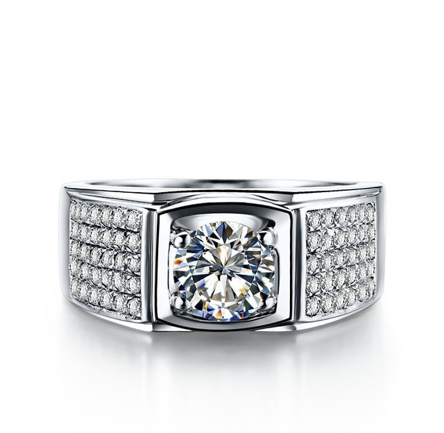 Genuine 925 Sterling Silver Men Ring Luxury 1Ct Silver Male Ring For Men  Trendy Sports Rings