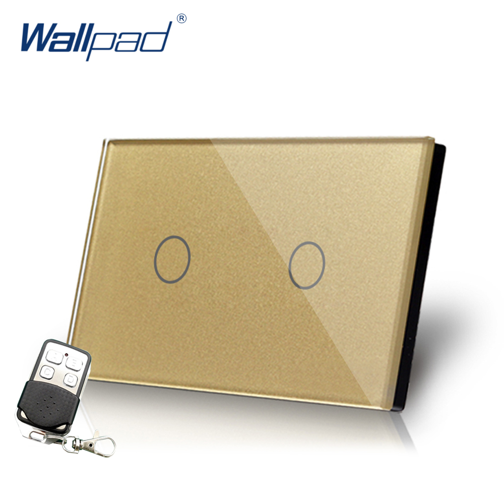 Gold 2 Gang 2 Way 3 Way Remote Switch Crystal Glass Wallpad Luxury US/AU Electrical 2 Gang Light Switch With Remote Controller white 3 gang remote control light switch crystal glass screen switch wallpad luxury us au led touch switch with remote control