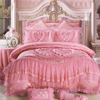 Luxury bedding set pink,red bed linen 4/6/9pcs/set duvet cover set princess bed spread duvet cover 2019 bed for wedding