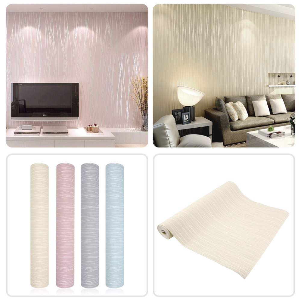 Hot  Simple Modern Home Embossed Textured Lines Wallpaper Roll Striped wallpapers for living room bed room,wall paper for walls non woven bubble butterfly wallpaper design modern pastoral flock 3d circle wall paper for living room background walls 10m roll