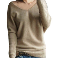 ZANZEA Pull Femme Sexy Women Knitted Sweater Pullovers 2016 Spring Autumn Casual V Neck Long Sleeve