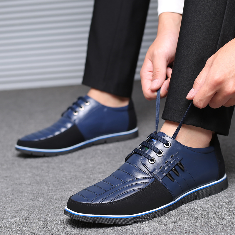 UPUPER Genuine Leather Men's Casual Shoes Autumn Winter Fashion Leather Shoes Men Flat Loafers Moccasins Black Blue Brown 37-48