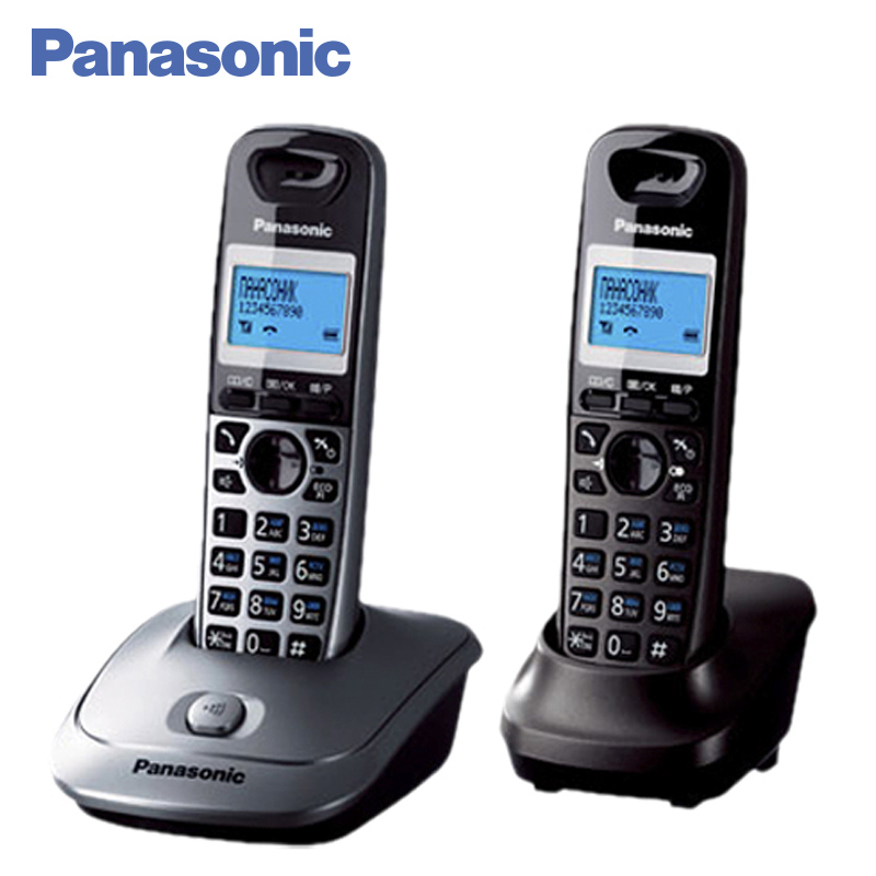 Panasonic KX-TG2512RU1 DECT phone, 2 Handset digital cordless telephone, wireless phone System Home Telephone. panasonic kx tg2512rus dect phone additional handset included eco mode time date display communication between handsets